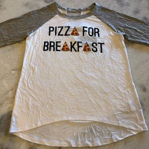 Pizza for Breakfast Girls T-Shirt. NWT Size 12/ L